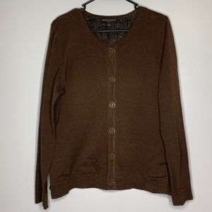 Dana Buchman Brown Button Up Lined Cardigan Large